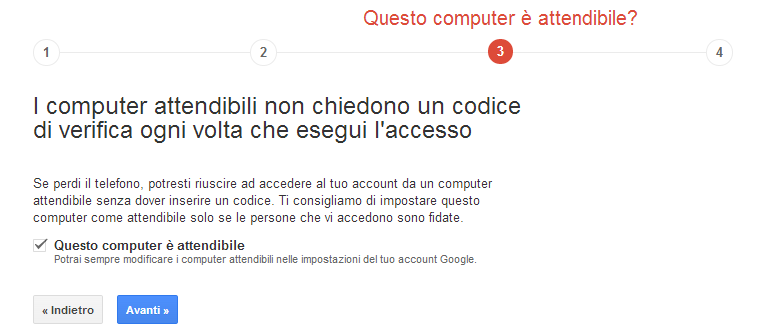 Verifica in 2 passaggi Google - step 4