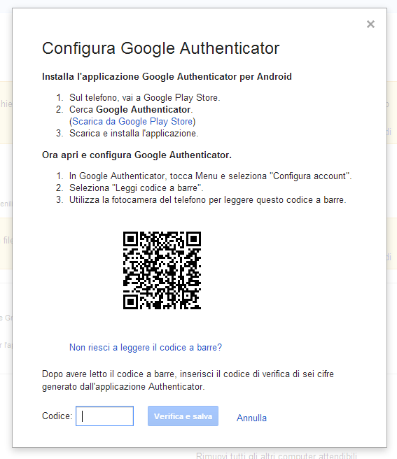 Verifica in 2 passaggi Google - step 7
